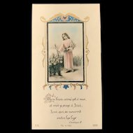 French Holy Card, Christ in a Field of Lilies, 1946