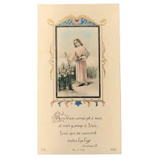 Young Christ in a field of Lilies, 1946 French Holy Card