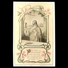 1908 French First Communion Card with Christ and Chalice
