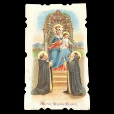 1929 Mary Queen of the Rosary Holy Card