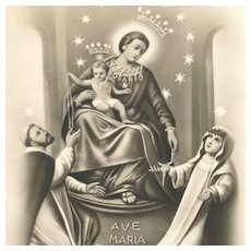 Vintage Our Lady of the Rosary Holy Card