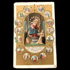 Golden Our Lady of Pompei Rosary Holy Card