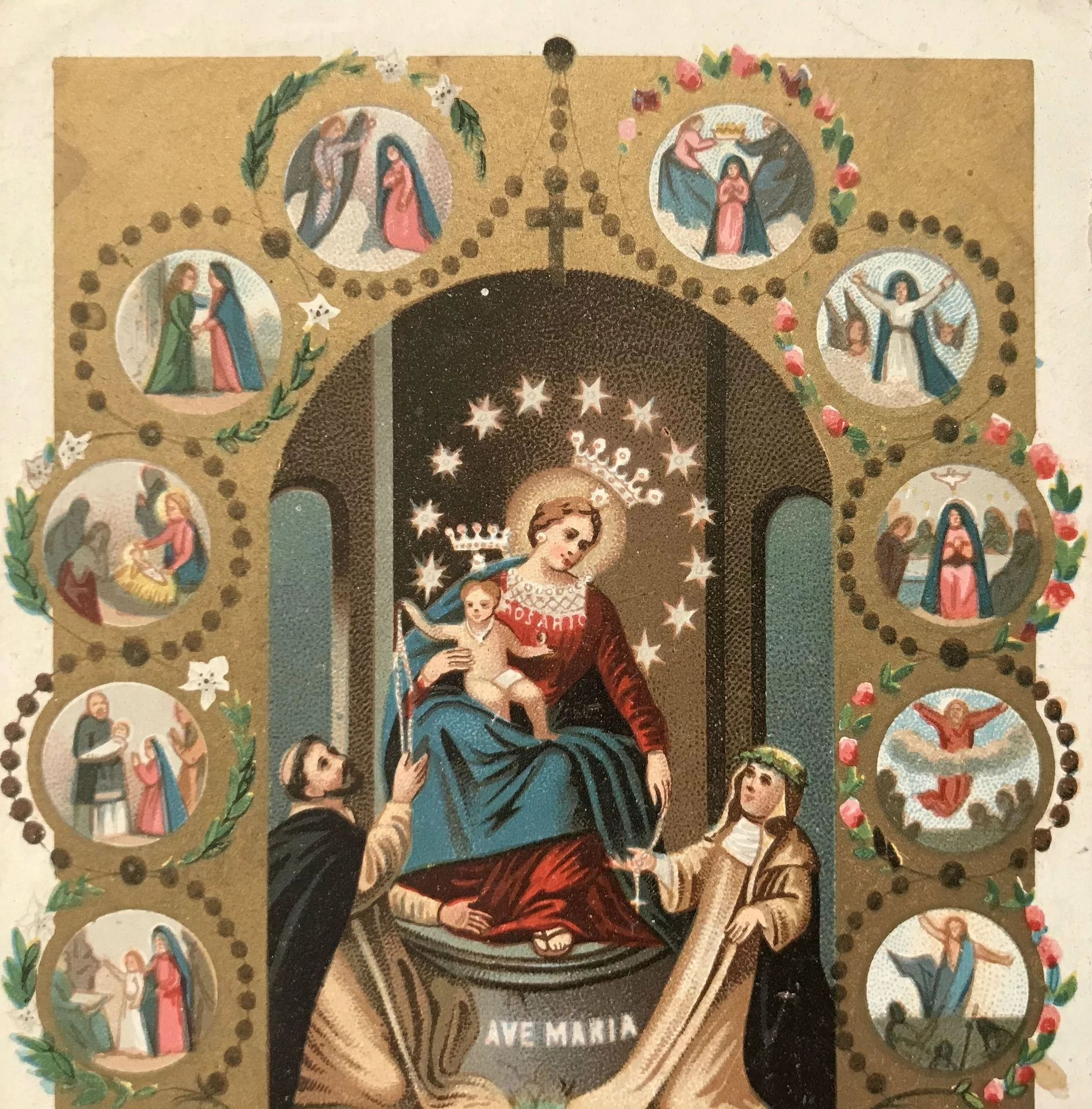 Our Lady Of Pompeii Rosary Holy Card The Vintage