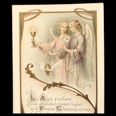 First Communion Card with Incense and Angels, French, 1908