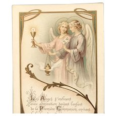 1908 French First Communion Card with Incense and Angels