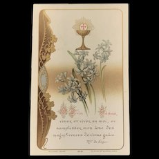 1911 French First Communion Card with Lilies and the Eucharist