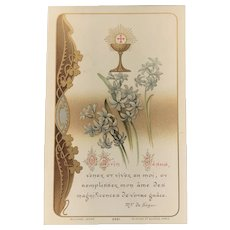 First Communion Card with Lilies and the Eucharist, French, 1911