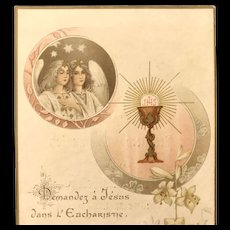 1909 French First Communion Card with Angles and Eucharist