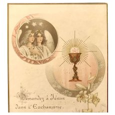 First Communion Card with Angels and Eucharist, French, 1909