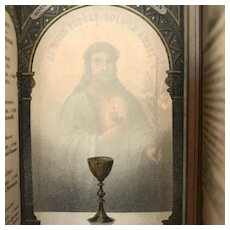1886 French First Communion Holy Card with Hidden Image of Christ