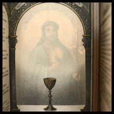 First Communion Holy Card with Hidden Image of Christ, French, 1886
