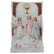 First Communion Holy Card, French, 1919