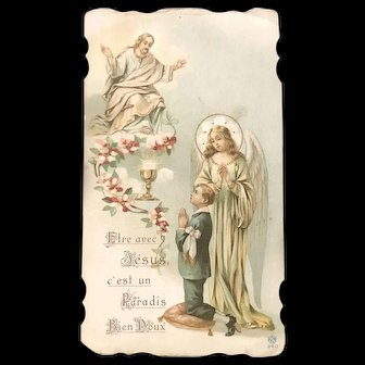 Antique Holy Card with Eucharist, Angel, and Christ, French