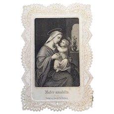"""""""Mater Amabilis"""" Lace Holy Card"""