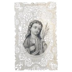 Lace Canivet Holy Card, French