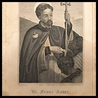 Antique Prayer Card - Saint Francis Xavier