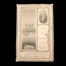 Antique Easter Blessings Lace Holy Card