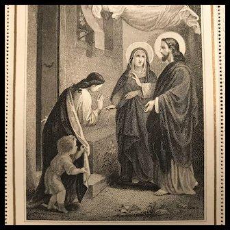 "Antique Holy Card - ""Eucharistic Visit of the Savior"""