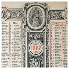 1887 Liturgical Calendar of Saints Feast Days