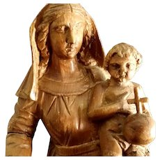 Antique Madonna & Child Statue