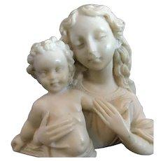 Alabaster Madonna and Christ Statue