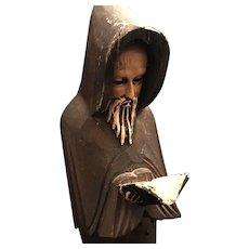 Vintage Reading Monk Statue
