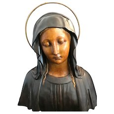 Antique Bust of the Madonna from Barcelona, Spain