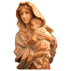 """Hand Carved """"Madonna of the Streets"""" Statue"""