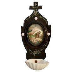 Antique Lourdes Holy Water Font
