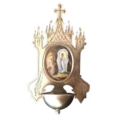 Antique Our Lady of Lourdes Holy Water Font
