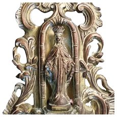 Large Antique Blessed Virgin Mary Holy Water Font - Red Tag Sale Item