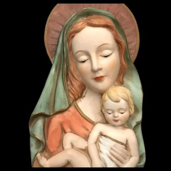Bisque Madonna & Child Holy Water Font