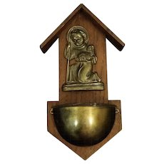 Holy Water Font - Young Jesus Holding a Lamb
