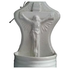 Porcelain Crucifix Holy Water Font