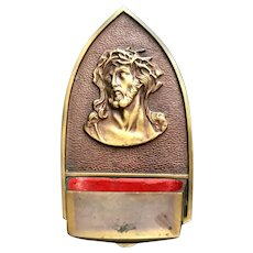 Brass Christ with Crown of Thorns Holy Water Font
