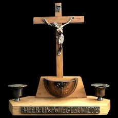 Dutch Crucifix Altar Set with Holy Water Font