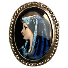 Hand-Painted Limoges Saint Fabiola Pendant, Patron of Divorce