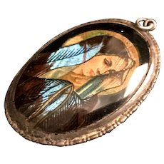 Sterling Butterfly Wing Blessed Virgin Mary Pendant