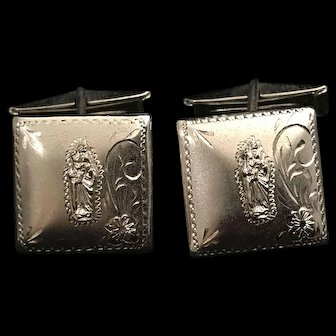Saint Anne with Mary Sterling Silver Cufflinks