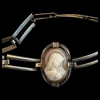 Sterling Silver Madonna Cameo Bracelet