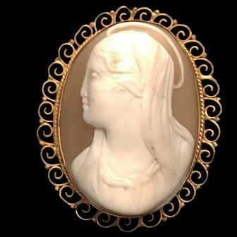 Large Antique Madonna Cameo, 800 Silver Vermeil