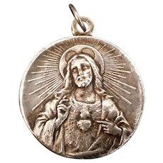 Large Sacred Heart of Jesus & Madonna Medal