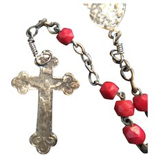 Petite Red Bead Rosary with Miraculous Medal Centerpiece