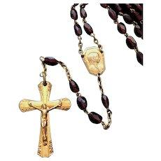 Art Deco Garnet Bead Rosary