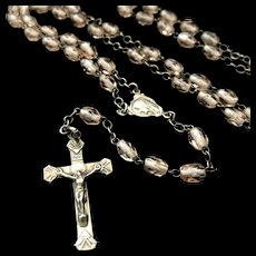 Lourdes Rosary with Pale Pink Crystal beads