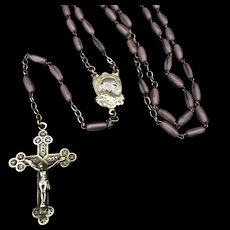 Antique French Rosary with Lavender Glass Beads