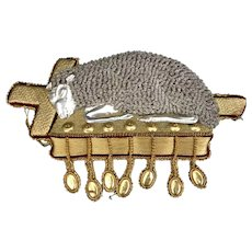 Lamb of God Vestment Applique, Embroidered Gold & Silver, 19th C