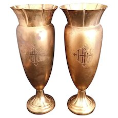 "Art Deco ""IHS"" Altar Vase Set"