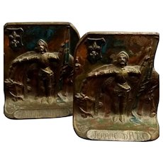 Joan of Arc Bookends, Circa 1920, Painted Bronze