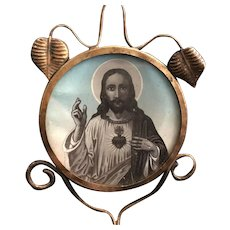 Sacred Heart of Jesus Devotional with Candle Holder